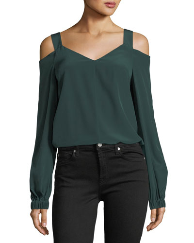 V-Neck Cold-Shoulder Silk Tunic
