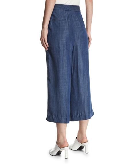 Pleated Wide-Leg Chambray Pants
