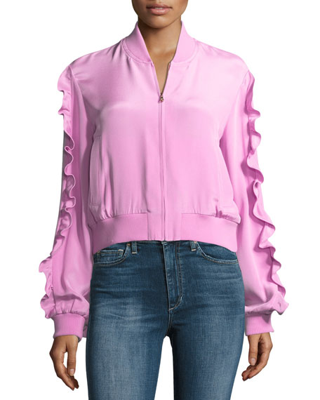 4-Ply Silk Zip-Front Bomber Jacket w/ Ruffled Frills