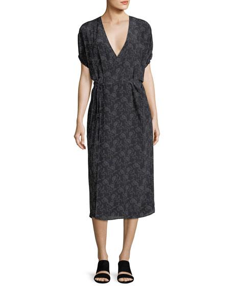 Floral-Print Silk Kimono Wrap Dress