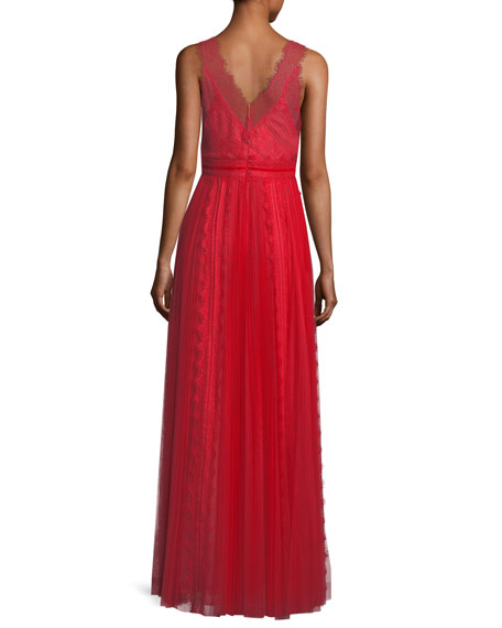 Lace Trim Sleeveless V-Neck Evening Gown