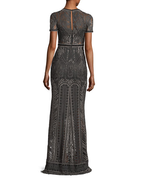 Embroidered Lace Cap-sleeve Column Evening Gown