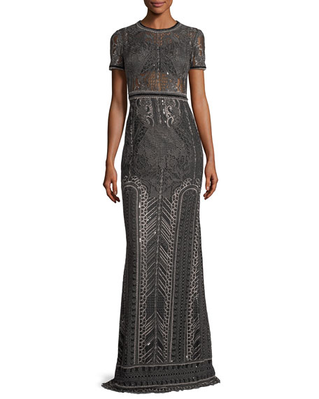a71d9e16 Marchesa Notte Embroidered Lace Cap-sleeve Column Evening Gown