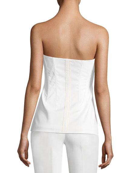 Modern Bustier Zip-Front Wool-Blend Top
