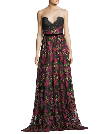 Sleeveless Floral-Embroidered Evening Gown w/ Lace