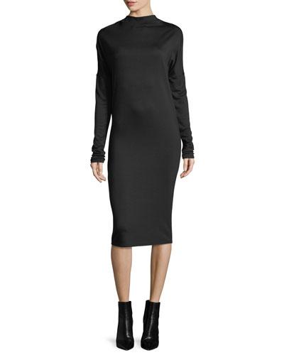 Mock-Neck Long-Sleeve Drapey Jersey Midi Dress