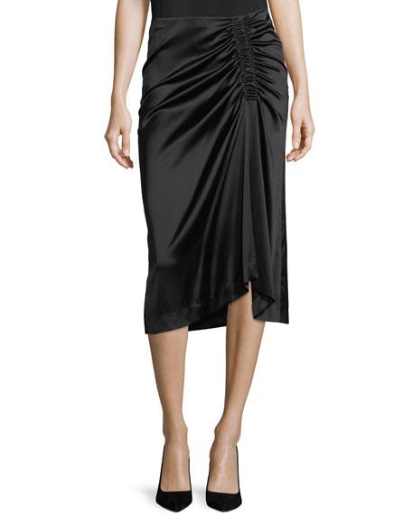 Stretch-Satin Ruched Midi Skirt