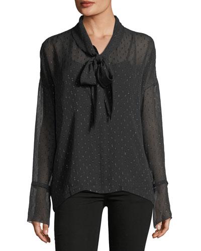 Long-Sleeve Metallic Silk Scarf Shirt