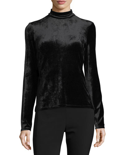 Long-Sleeve Turtleneck Velvet Bodysuit