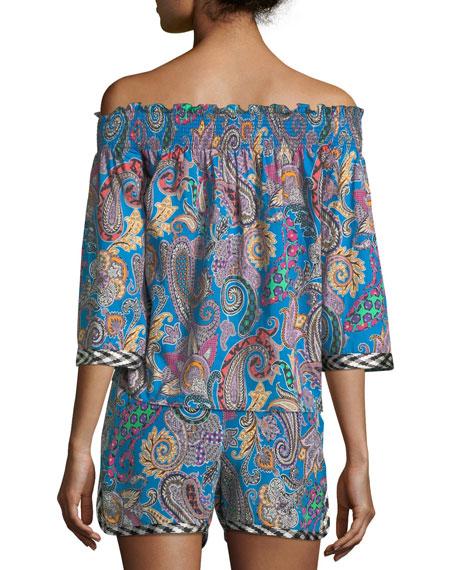 Off-the-Shoulder Paisley-Print Cotton Top