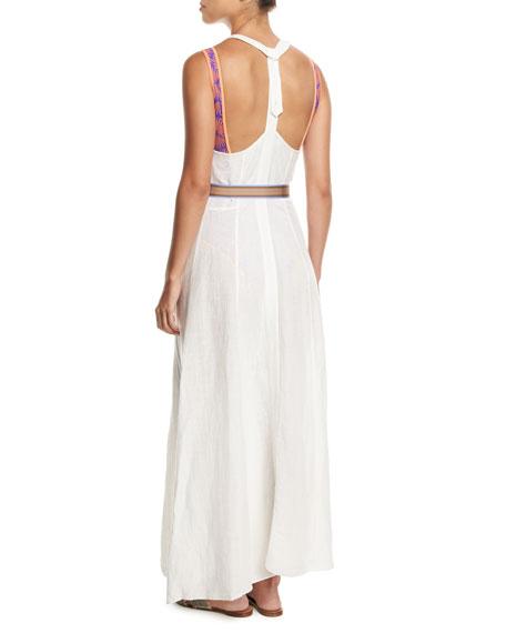 Sleeveless Button-Front Swim Coverup Dress