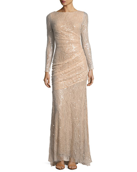 Long-Sleeve Lace Sequin Evening Gown