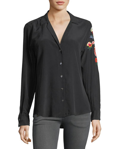 Adalyn Button-Front Silk Blouse w/ Embroidery