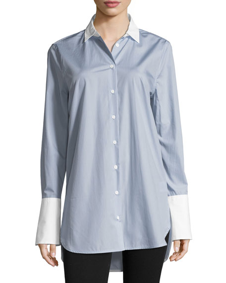 Arlette Button-Front French-Cuff Poplin Shirt