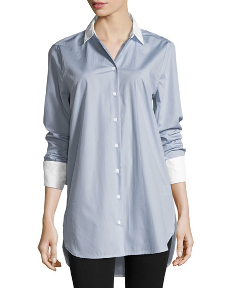 Arlette Button-Front French-Cuff Poplin Shirt