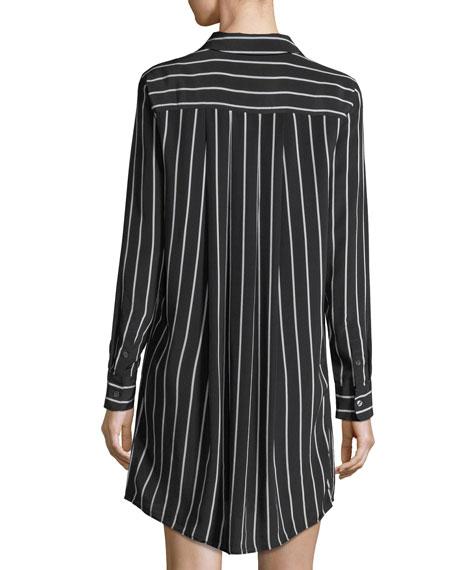 Carmine Striped Button-Front Silk Shirtdress
