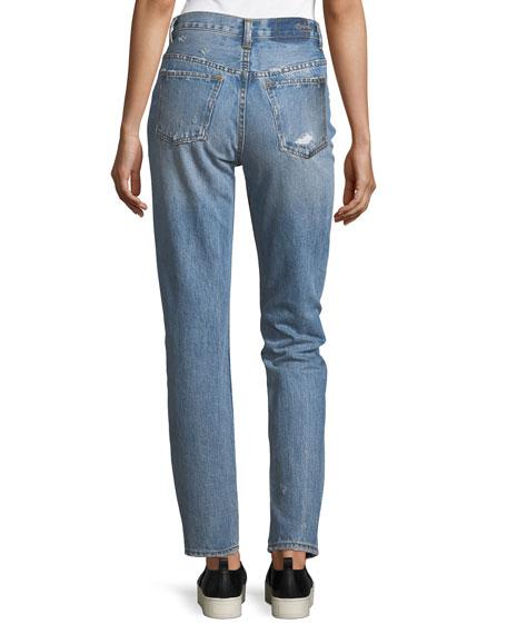 Olivia Mid-Rise Straight-Leg Distressed Jeans