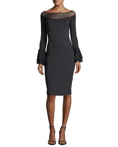 Giuly Illusion Long-Sleeve Sheath Cocktail Dress