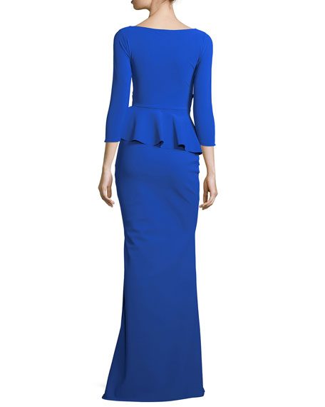 Billie Jean Asymmetric Peplum Mermaid Gown