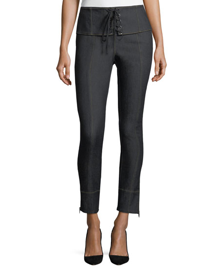 Andie Lace-Front Skinny-Leg Ankle Jeans