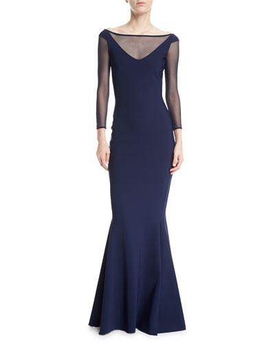Bateau-Neck Illusion Bow-Back Trumpet Evening Gown