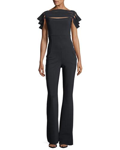 Nuha Stripped Cap-Sleeve Jumpsuit