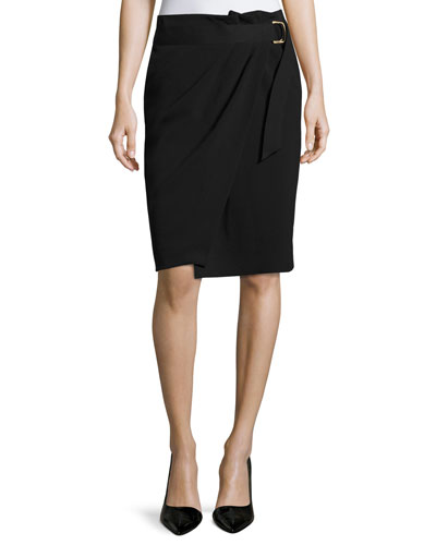 Crepe Belted Wrap Skirt