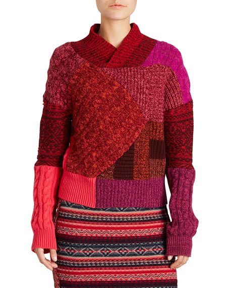 Mixed-Knit Patchwork Sweater