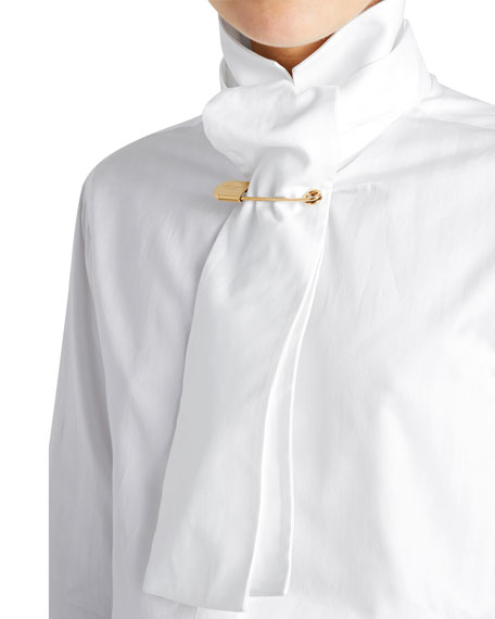 Tie-Neck Herringbone Cotton Shirt
