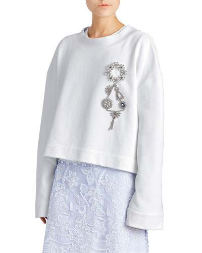 Jersey Sweatshirt with Crystal Brooch