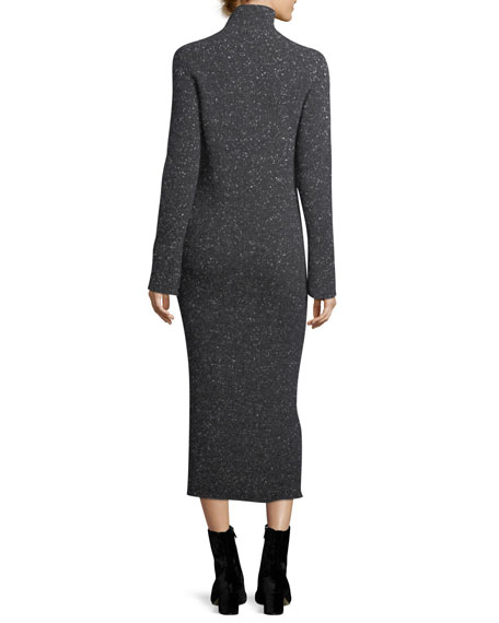 Cashmere Tweed Turtleneck Sweaterdress
