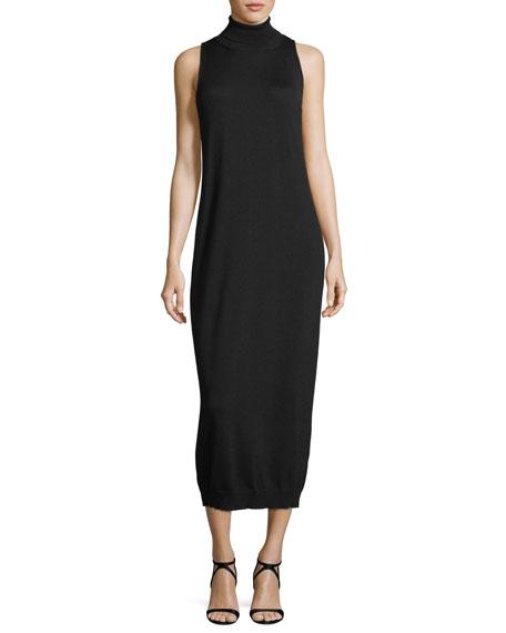 Sleeveless Turtleneck Midi Dress