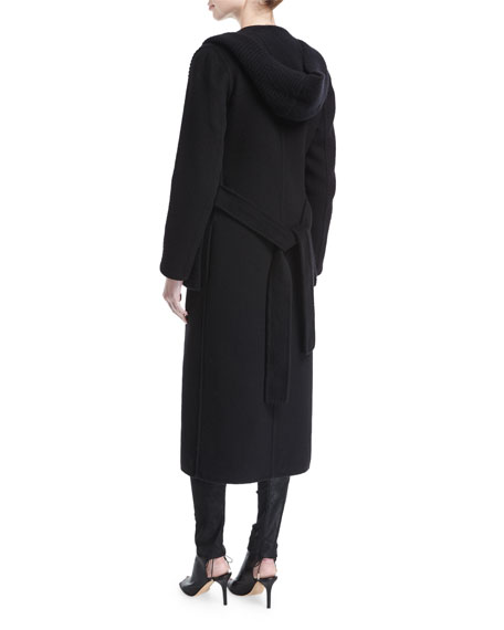 Hooded Cashmere Wrap Coat