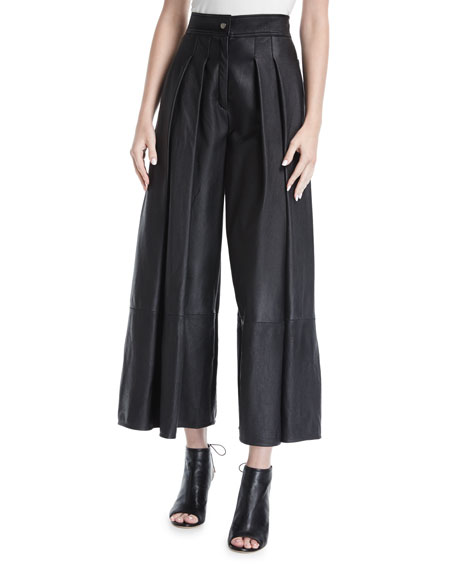 Pleated Leather Wide-Leg Pants