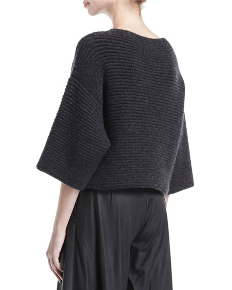 Ribbed Knit 3/4-Sleeve Pullover