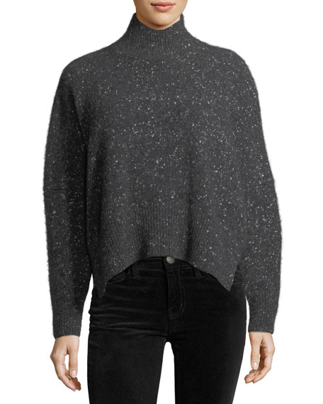 Tweed Cashmere Turtleneck Sweater
