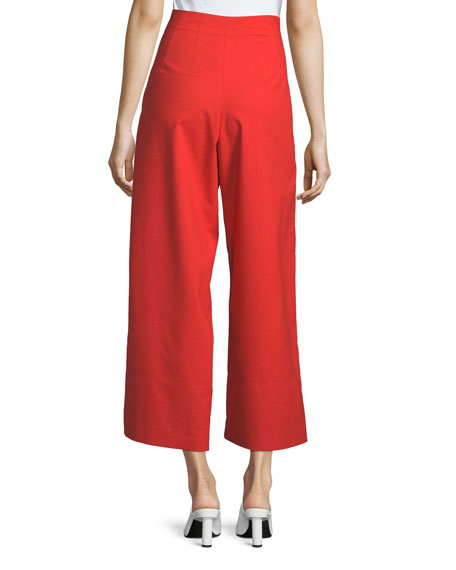 Ivy High-Waist Wide-Leg Cotton Trousers