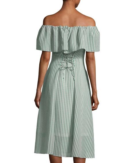 Olivia Off-the-Shoulder Gingham-Printed Dress
