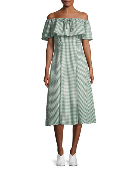 Olivia Off-the-Shoulder Gingham-Printed Dress