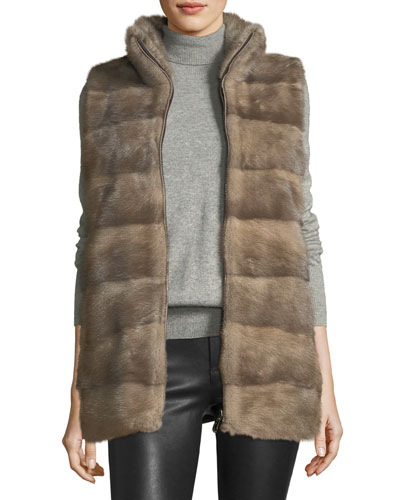 Wool Vest w/ Mink Fur Front Panels