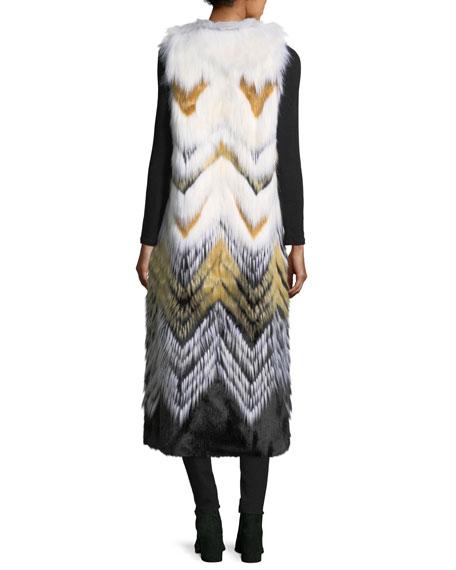 Full-Length Chevron Faux-Fur Vest