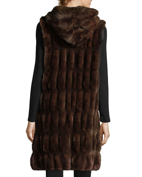 Couture Faux-Fur Hooded Long Vest
