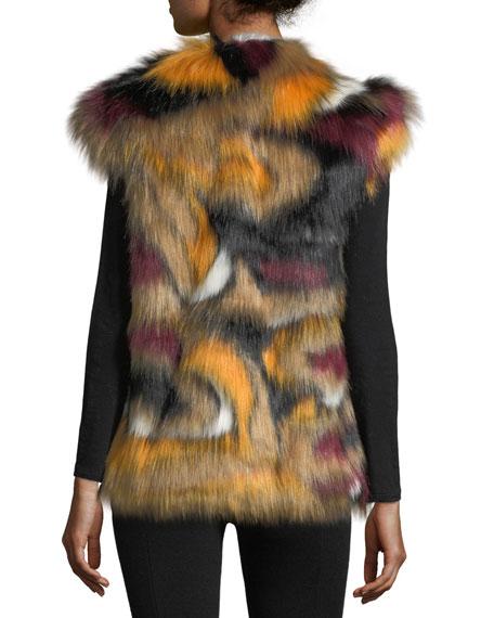 Cap-Sleeve Faux-Fur Vest, Multi