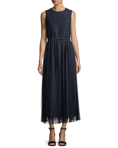 Charlotte Pleated-Mesh Dress