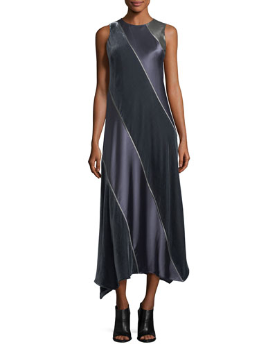 Madelia Satin-and-Velvet Dress