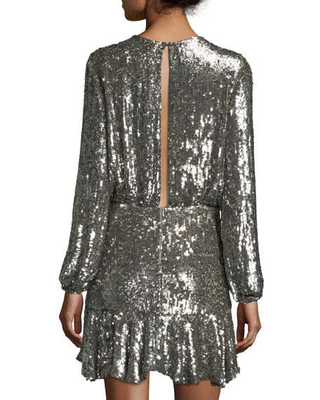 Tamera Split-Front Sequin Mini Dress