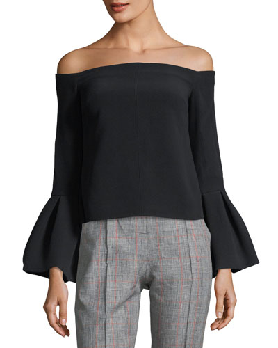 Tess Off-the-Shoulder Bell-Cuffs Crepe Top