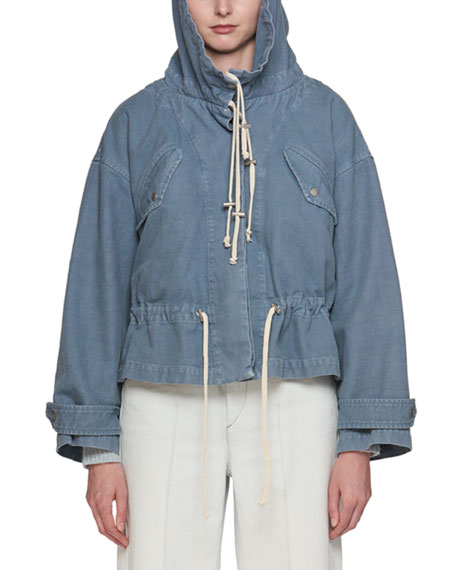 Lagilly Hooded Drawstring Denim Jacket