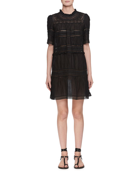 Vicky High-Neck Cotton Voile Dress with Lace Trim