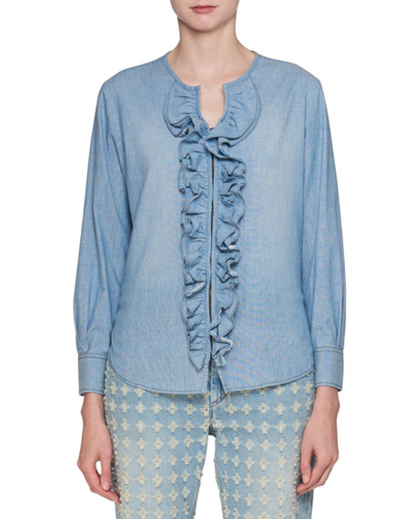 Liz Hook-Front Long-Sleeve Denim Blouse with Ruffled Trim